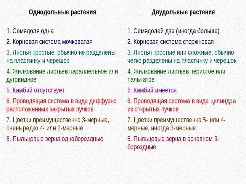 Однодольные растения 1. Семядоля одна 2. Корневая система мочковатая 3. Листь...