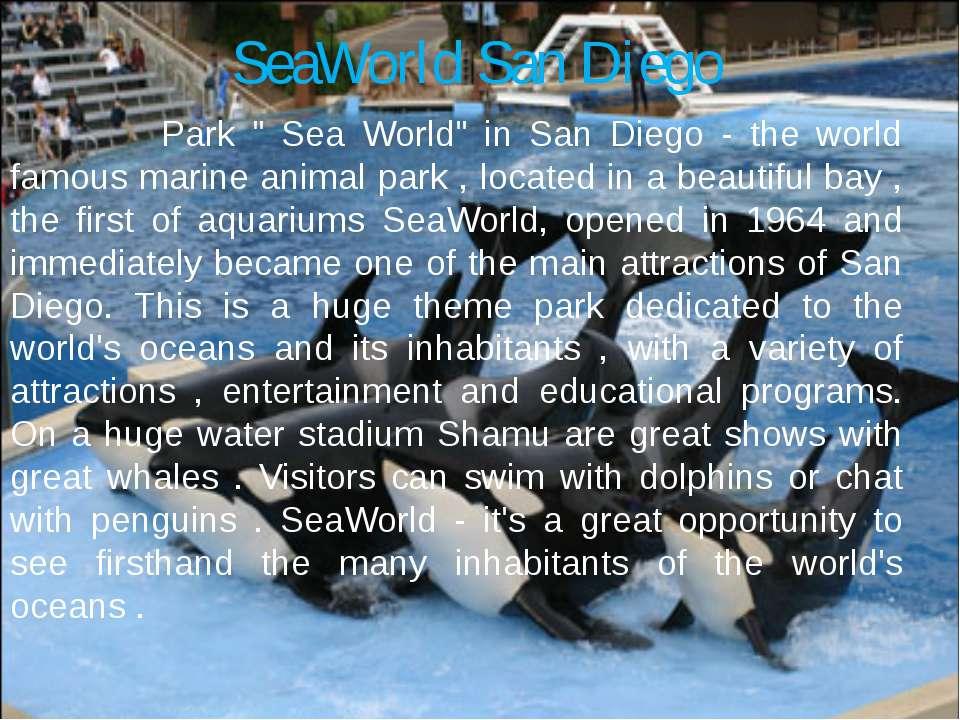 "SeaWorld San Diego Park "" Sea World"" in San Diego - the world famous marine a..."