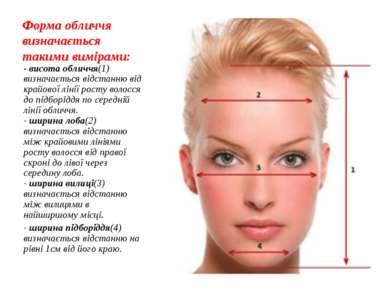 Форма обличчя визначається такими вимірами: - висота обличчя(1) визначається ...