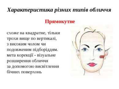 Характеристика різних типів обличчя Прямокутне схоже на квадратне, тільки тро...
