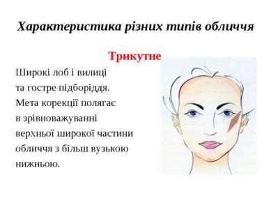 Характеристика різних типів обличчя Трикутне Широкі лоб і вилиці та гостре пі...
