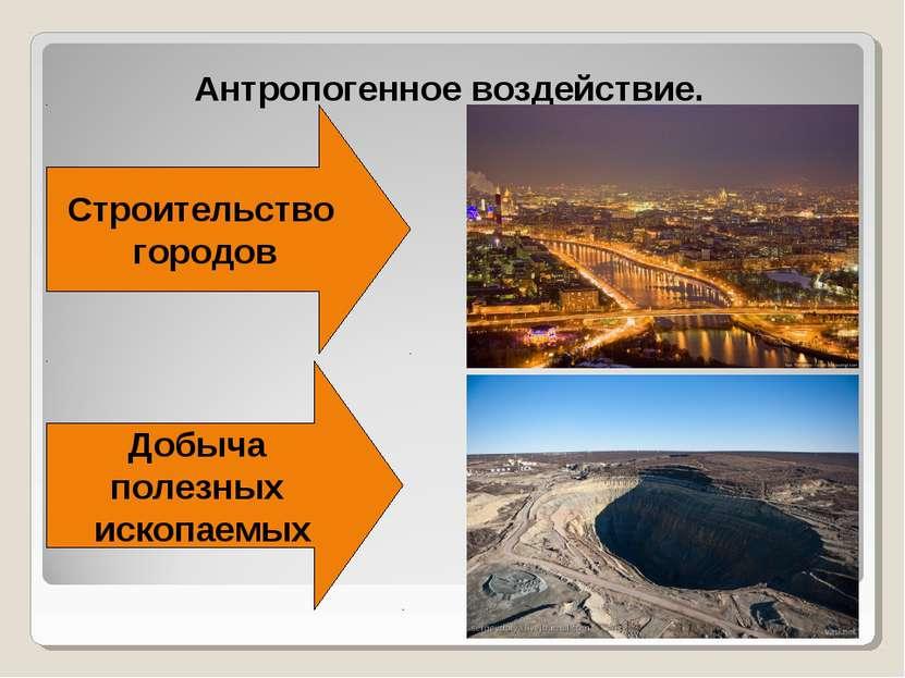 Антропогенное воздействие. Строительство городов Добыча полезных ископаемых