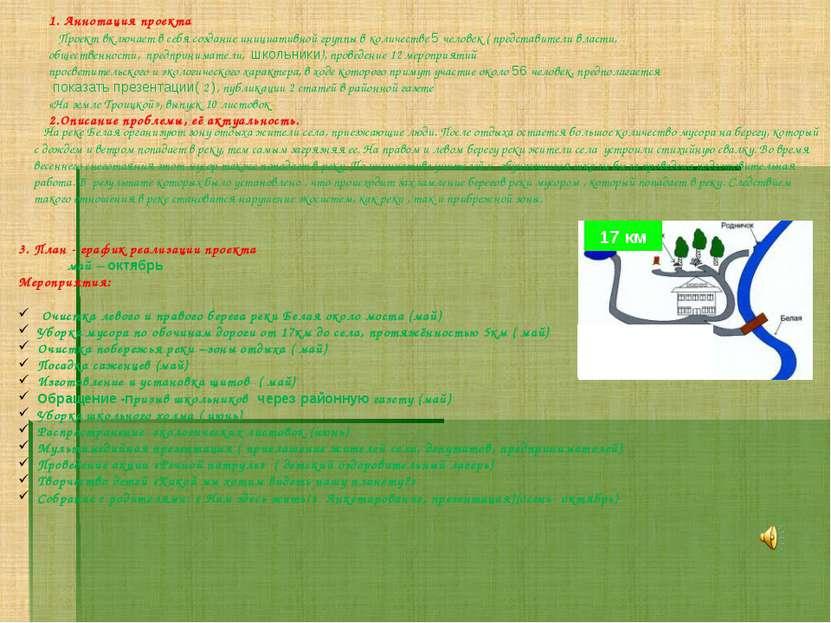 1. Аннотация проекта Проект включает в себя создание инициативной группы в ко...