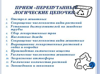ПРИЕМ «ПЕРЕПУТАННЫЕ ЛОГИЧЕСКИЕ ЦЕПОЧКИ» Отстрел животных Сокращение численнос...