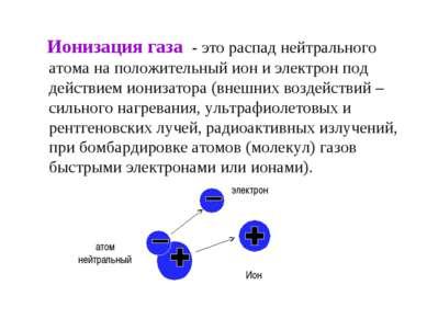 Ионизация газа - это распад нейтрального атома на положительный ион и электро...