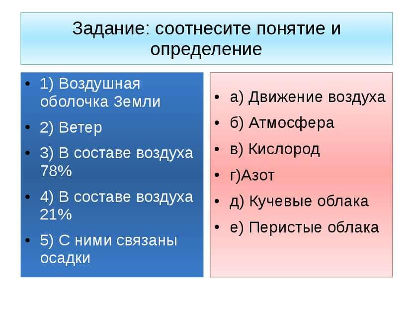 Задание: соотнесите понятие и определение 1) Воздушная оболочка Земли 2) Вете...