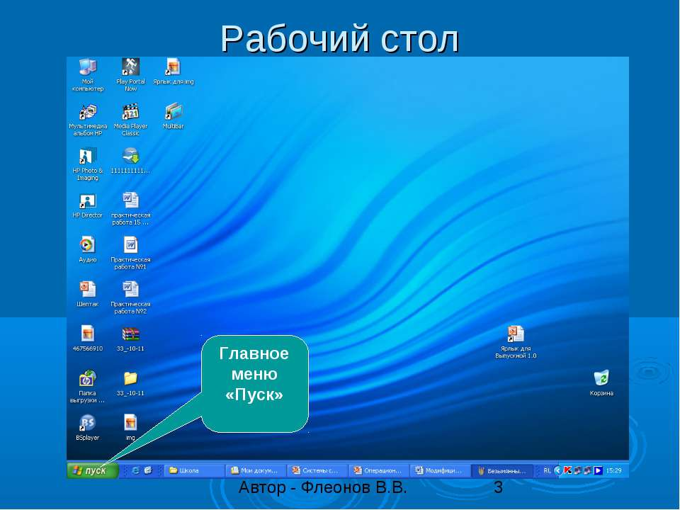 Рабочий стол Главное меню «Пуск»