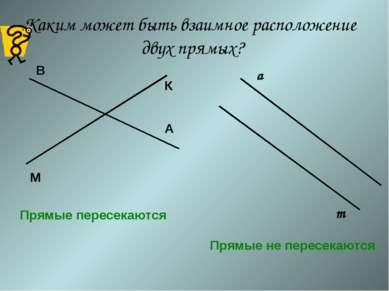 Каким может быть взаимное расположение двух прямых? А В М К а т Прямые пересе...