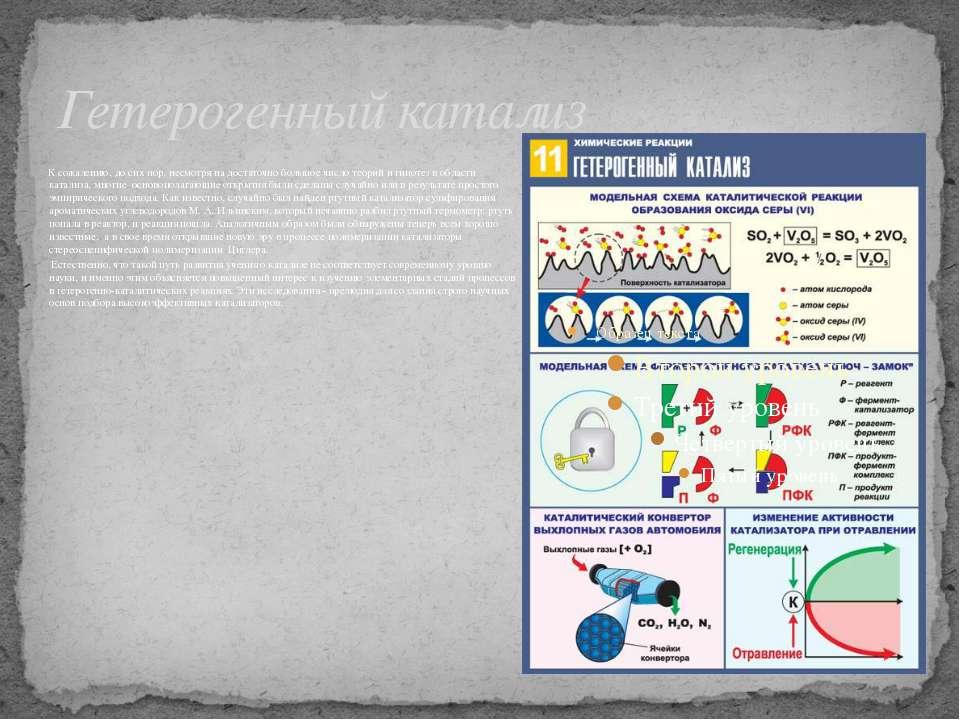 Гетерогенный катализ К сожалению, до сих пор, несмотря на достаточно большое ...
