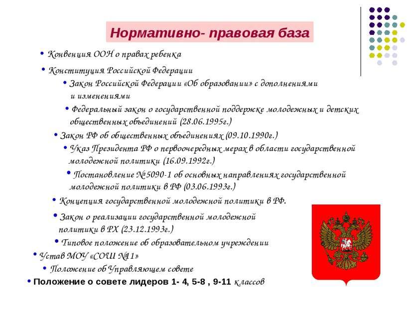 Нормативно- правовая база Конституция Российской Федерации Закон Российской Ф...