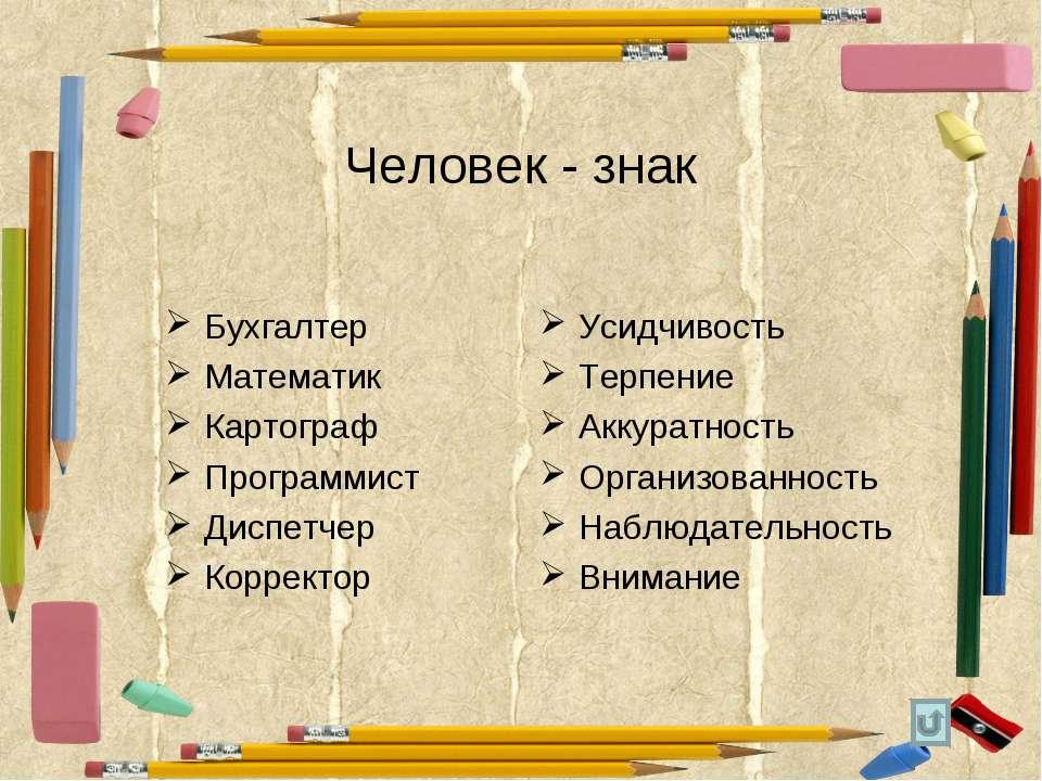 Человек - знак Бухгалтер Математик Картограф Программист Диспетчер Корректор ...