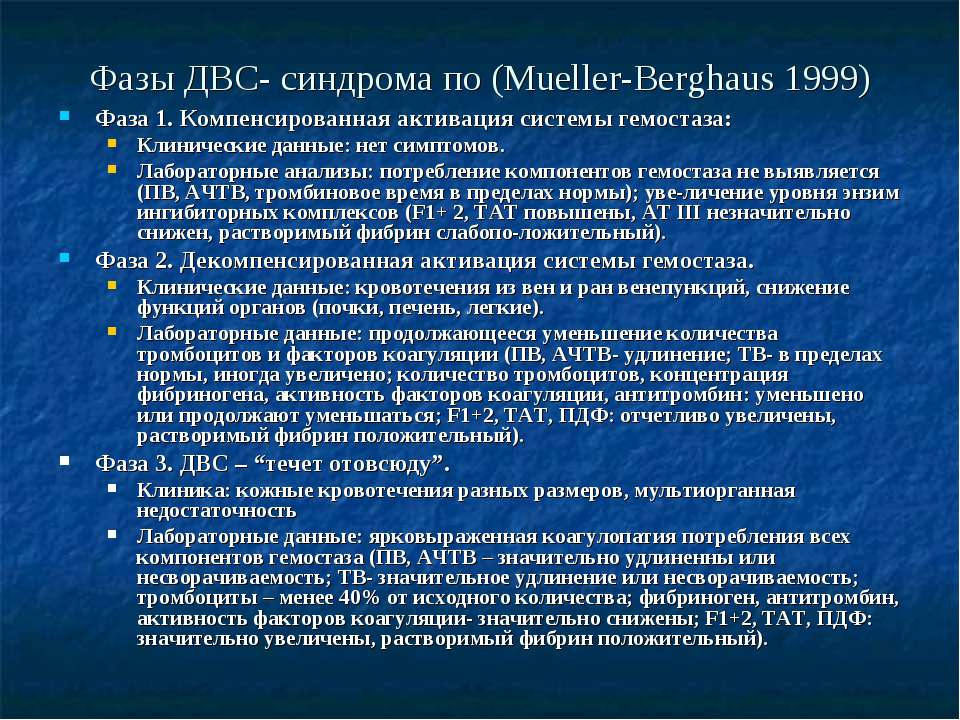 Фазы ДВС- синдрома по (Mueller-Berghaus 1999) Фаза 1. Компенсированная актива...