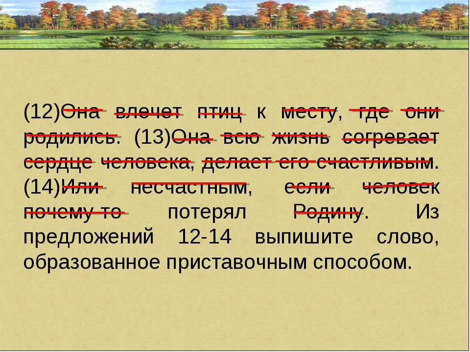 (12)Она влечет птиц к месту, где они родились. (13)Она всю жизнь согревает се...