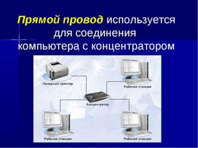Прямой провод используется для соединения компьютера с концентратором
