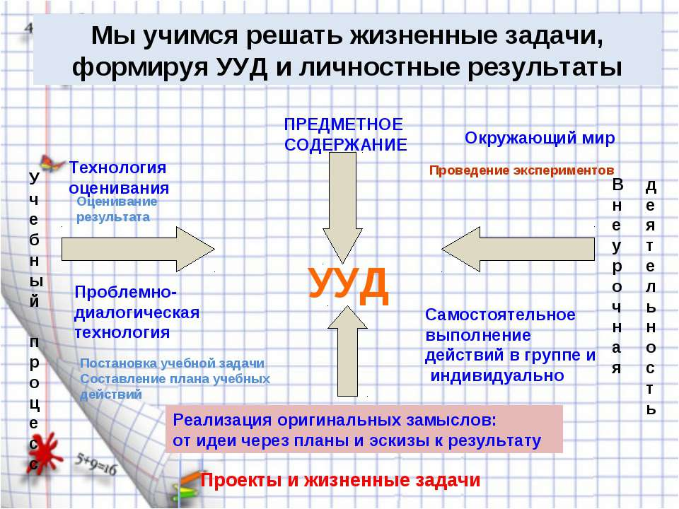 Мы учимся решать жизненные задачи, формируя УУД и личностные результаты Учебн...
