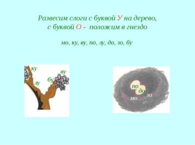 Развесим слоги с буквой У на дерево, с буквой О - положим в гнездо мо, ку, ву...