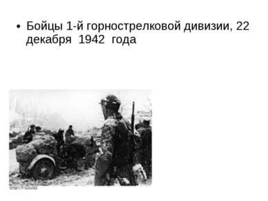 Бойцы 1-й горнострелковой дивизии, 22 декабря 1942 года