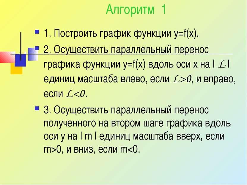 Алгоритм 1 1. Построить график функции y=f(x). 2. Осуществить параллельный пе...