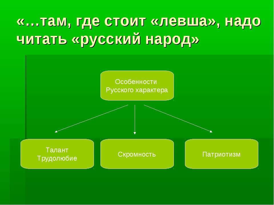 «…там, где стоит «левша», надо читать «русский народ» Особенности Русского ха...