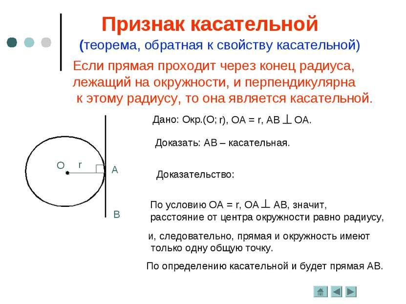 Если прямая проходит через конец радиуса, лежащий на окружности, и перпендику...