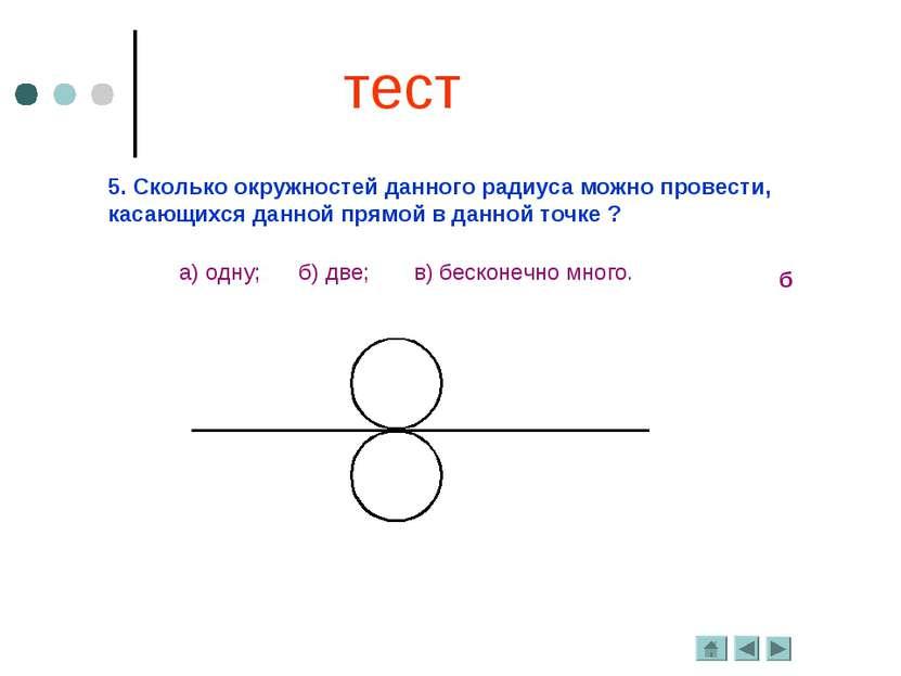 5. Сколько окружностей данного радиуса можно провести, касающихся данной прям...