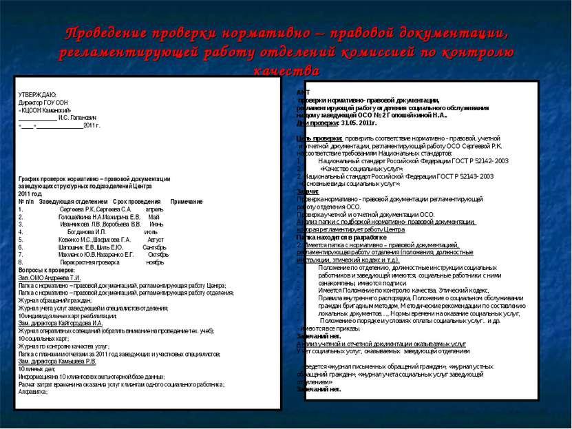 Проведение проверки нормативно – правовой документации, регламентирующей рабо...