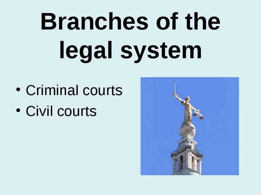 Branches of the legal system Criminal courts Civil courts