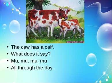 The caw has a calf. What does it say? Mu, mu, mu, mu All through the day.