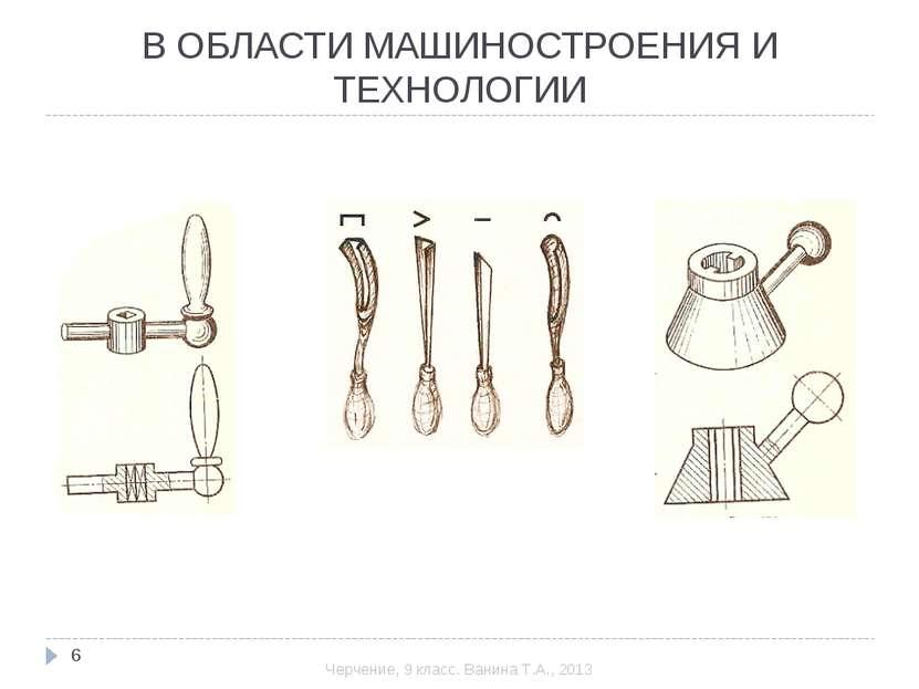 В ОБЛАСТИ МАШИНОСТРОЕНИЯ И ТЕХНОЛОГИИ * Черчение, 9 класс. Ванина Т.А., 2013