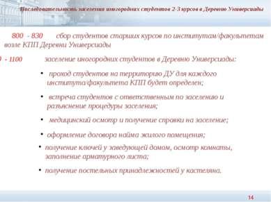 Последовательность заселения иногородних студентов 2-3 курсов в Деревню Униве...