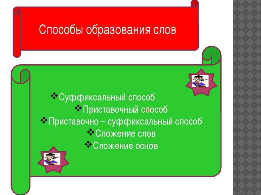 Суффиксальный способ Приставочный способ Приставочно – суффиксальный способ С...