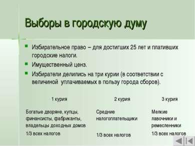 Выборы в городскую думу Избирательное право – для достигших 25 лет и плативши...
