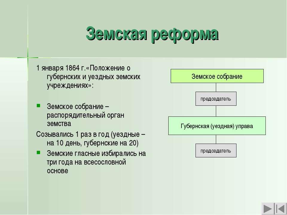 Земская реформа 1 января 1864 г.«Положение о губернских и уездных земских учр...