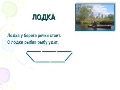 ЛОДКА Лодка у берега речки стоит. С лодки рыбак рыбу удит.