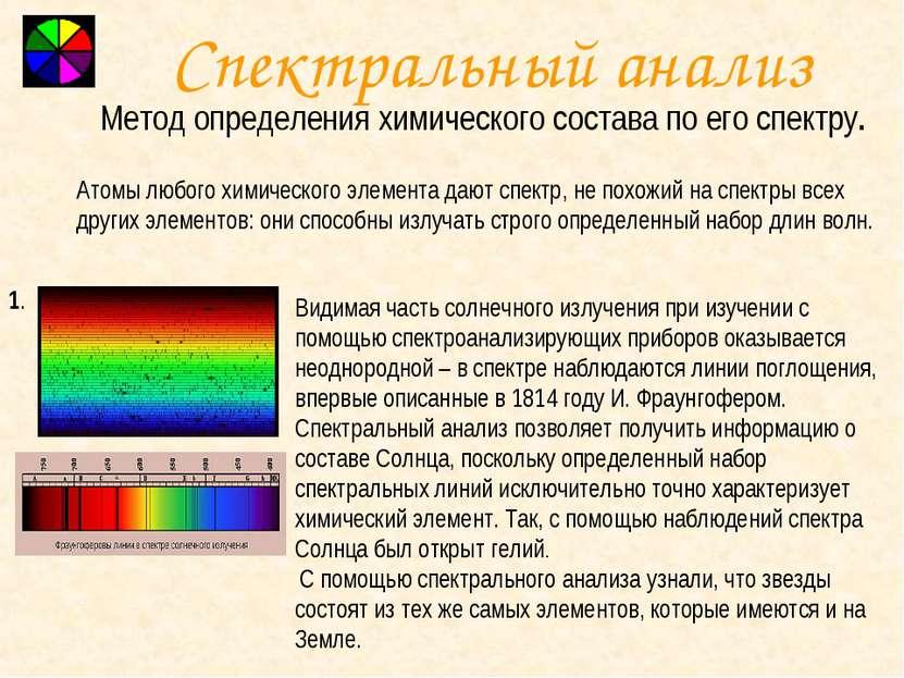 Спектральный анализ Метод определения химического состава по его спектру. Ато...