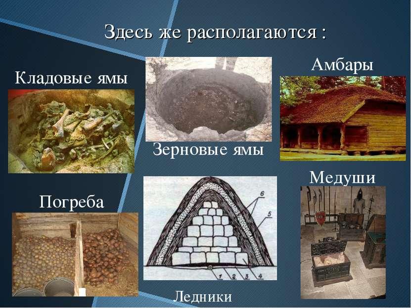 Здесь же располагаются : Кладовые ямы Зерновые ямы Амбары Ледники Погреба Медуши