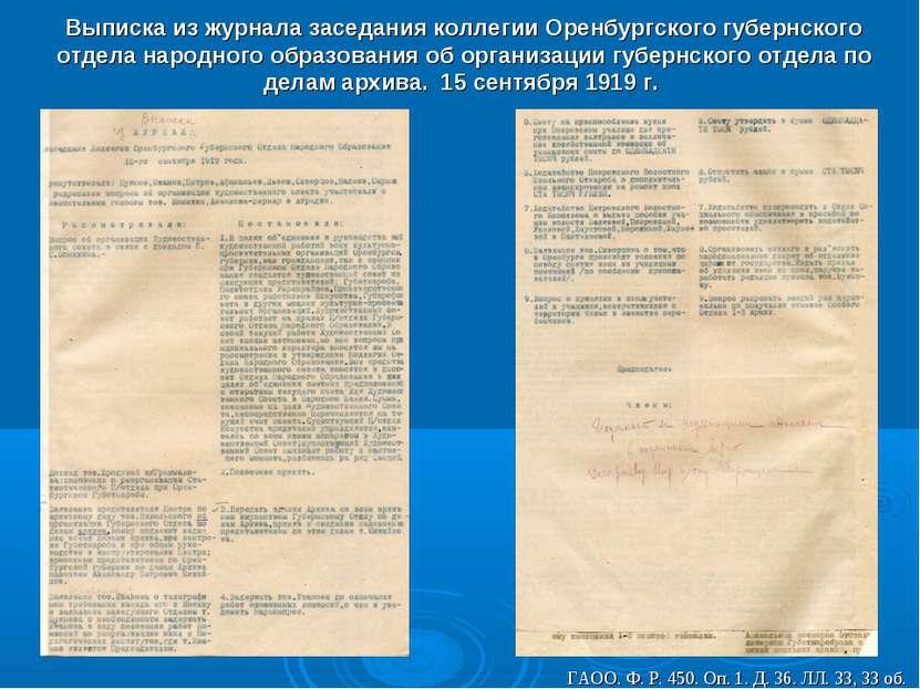 Выписка из журнала заседания коллегии Оренбургского губернского отдела народн...