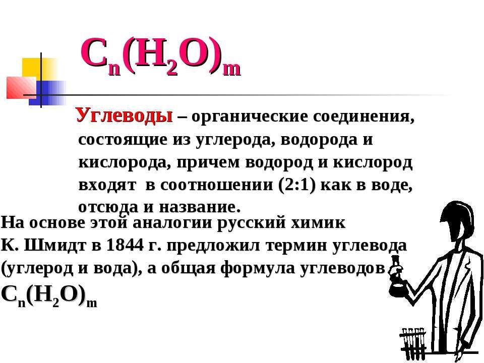 Сn(Н2О)m Углеводы – органические соединения, состоящие из углерода, водорода ...