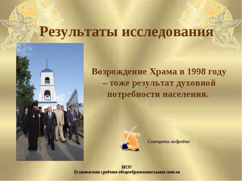 Результаты исследования Возрождение Храма в 1998 году – тоже результат духовн...
