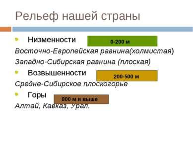 Рельеф нашей страны Низменности Восточно-Европейская равнина(холмистая) Запад...