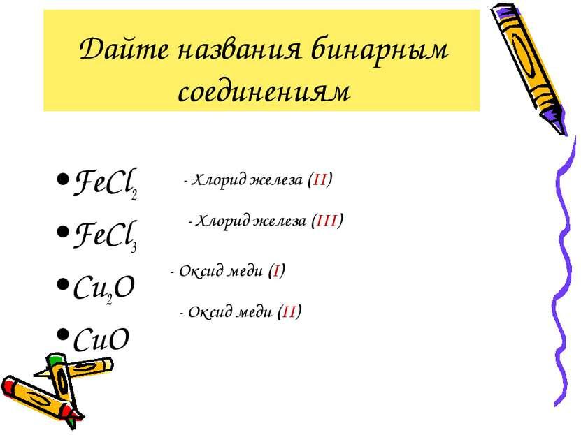 Дайте названия бинарным соединениям FeCl2 FeCl3 Cu2O CuO - Хлорид железа (II)...