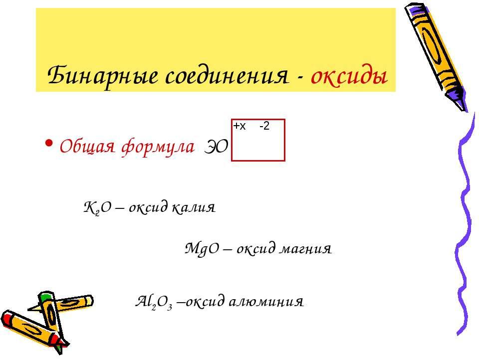 Бинарные соединения - оксиды Общая формула ЭО -2 +x K2О – оксид калия MgО – о...