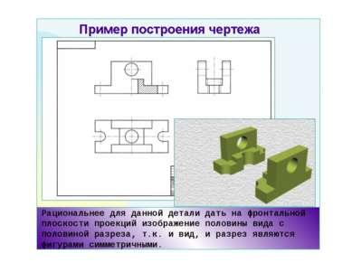 Рациональнее для данной детали дать на фронтальной плоскости проекций изображ...
