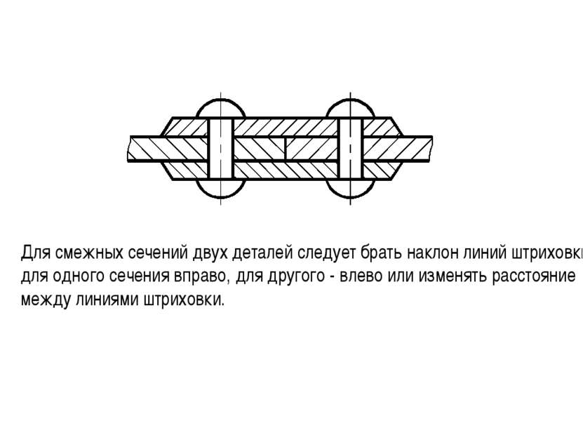 Для смежных сечений двух деталей следует брать наклон линий штриховки для одн...