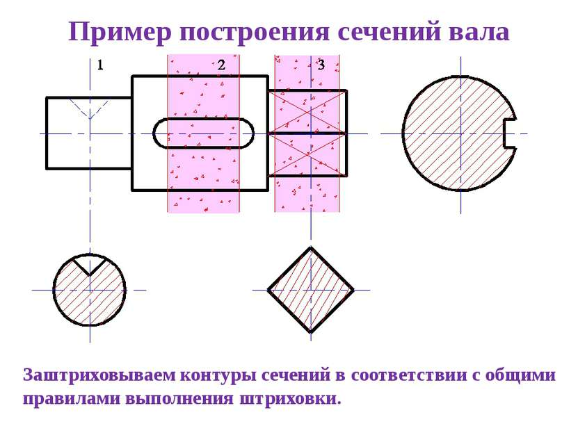 Заштриховываем контуры сечений в соответствии с общими правилами выполнения ш...