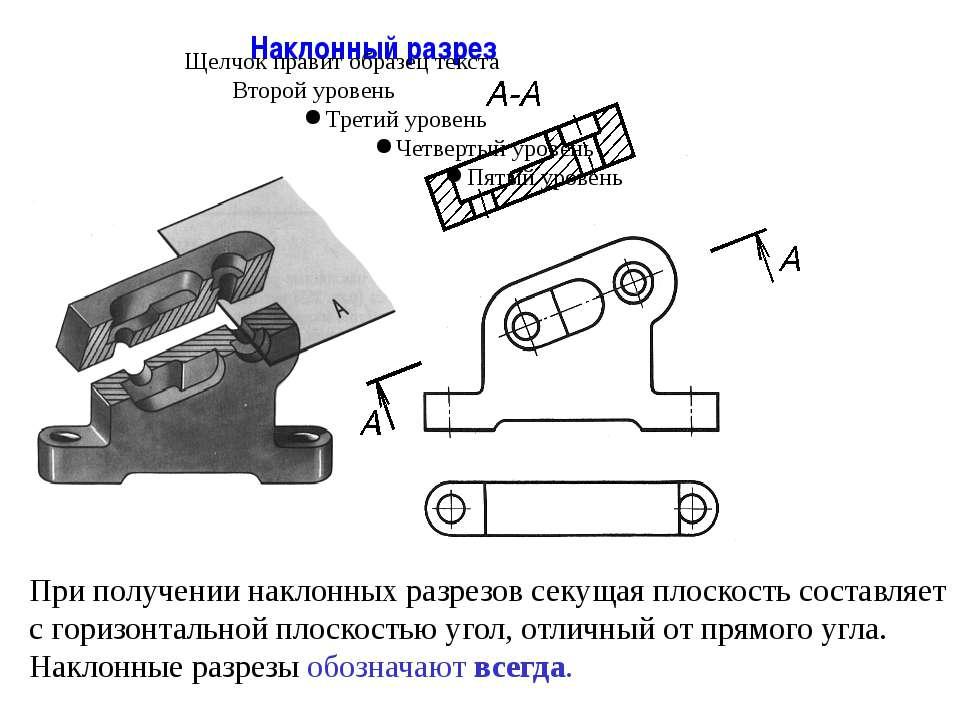Наклонный разрез При получении наклонных разрезов секущая плоскость составляе...