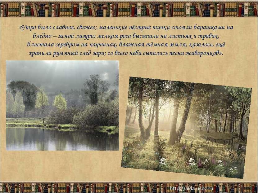 «Утро было славное, свежее; маленькие пёстрые тучки стояли барашками на бледн...