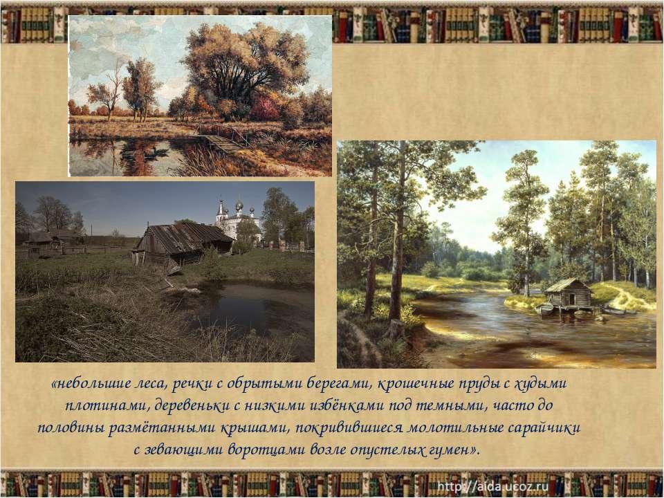 «небольшие леса, речки с обрытыми берегами, крошечные пруды с худыми плотинам...