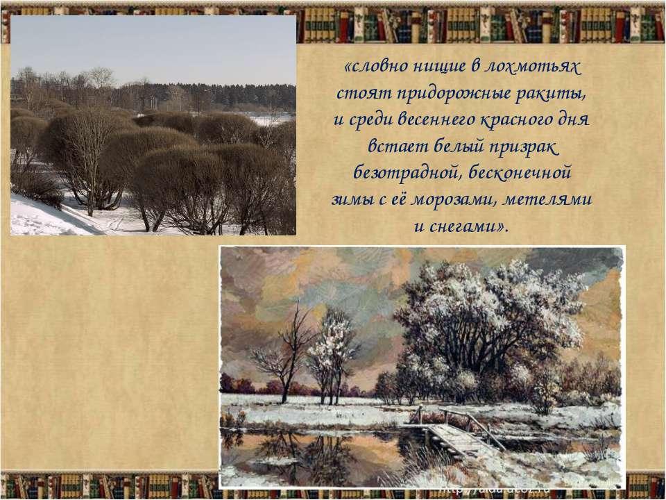 «словно нищие в лохмотьях стоят придорожные ракиты, и среди весеннего красног...