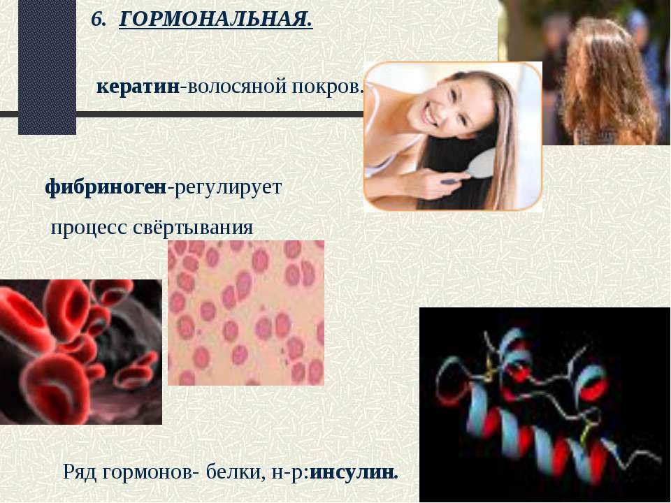 Ряд гормонов- белки, н-р:инсулин. кератин-волосяной покров. фибриноген-регули...